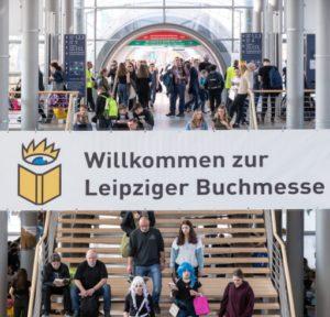 Blick auf die Eingangstreppe zur Leipziger Buchmesse