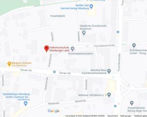 Stadtplan Altenburg mit Ortsmarke